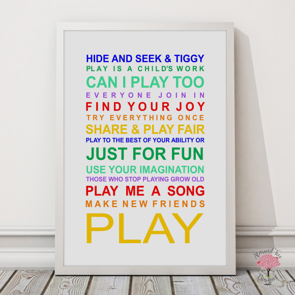 Expressions of your childhood playroom rules print in Rainbow, with optional Australian-made white timber frame
