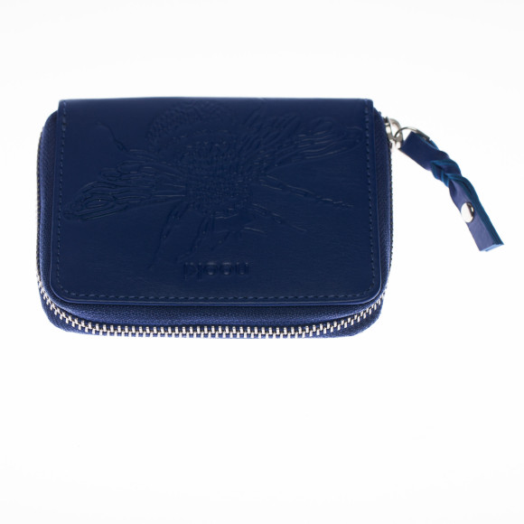 Cobalt embossed bee purse front