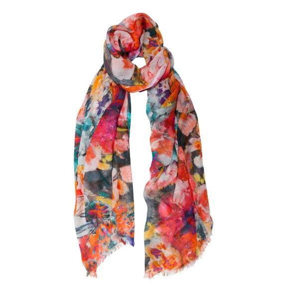 Botanical floral scarf