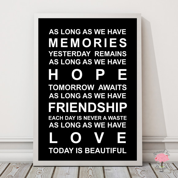 Memories Print in Black, with optional Australian-made white timber frame