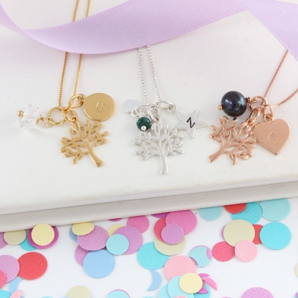 mini sterling silver, rose gold and gold tree of life charm necklace with April, May and June birthstones