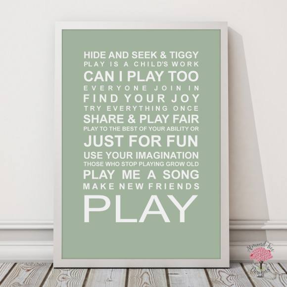 Expressions of your childhood playroom rules print in Pistachio, with optional Australian-made white timber frame