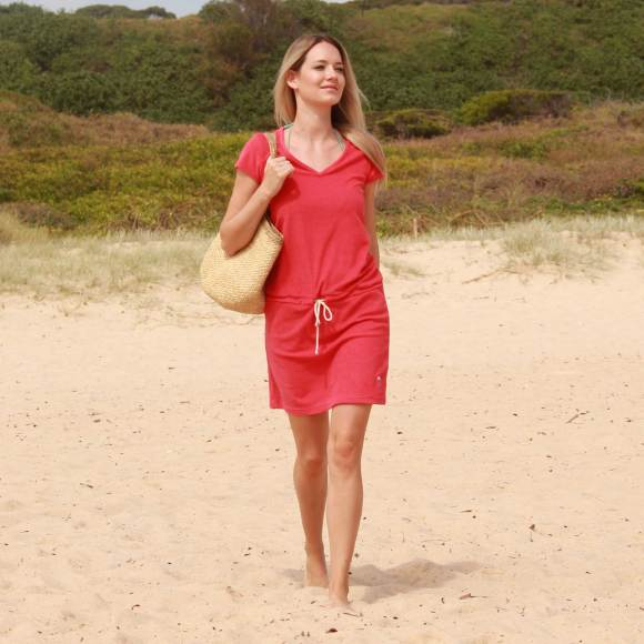 Coggee Red Coral - Terry dress