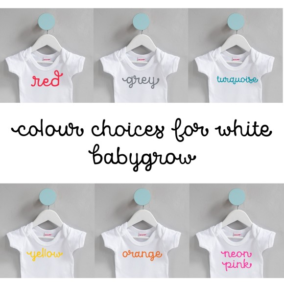 text colour options white baby wear