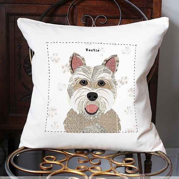 Westie cushion with breed name
