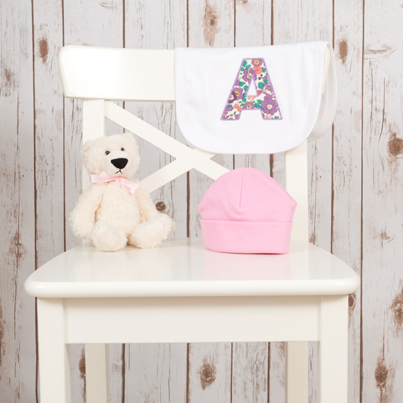 Cotton Baby Bib and Teddy Bear