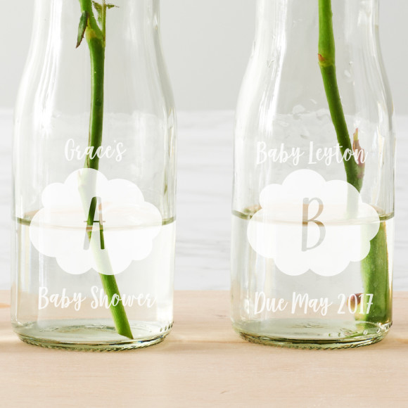 Personalised Baby Clouds Bottle Vases Hardtofind