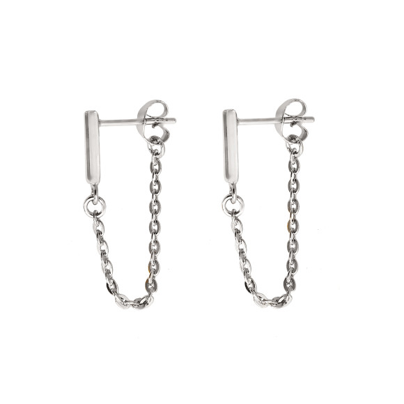 bar chain earrings sterling silver