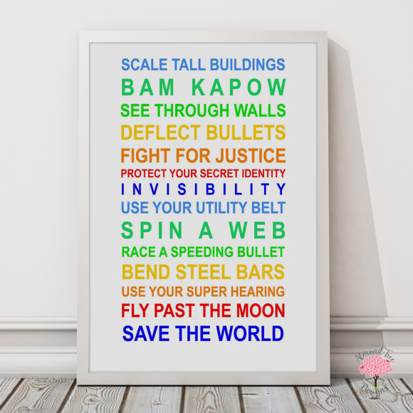 Superheroes print in Rainbow, with optional Australian-made white timber frame