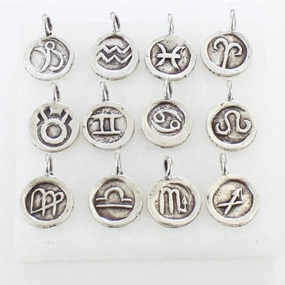 solid sterling silver zodiac star sign disc charms
