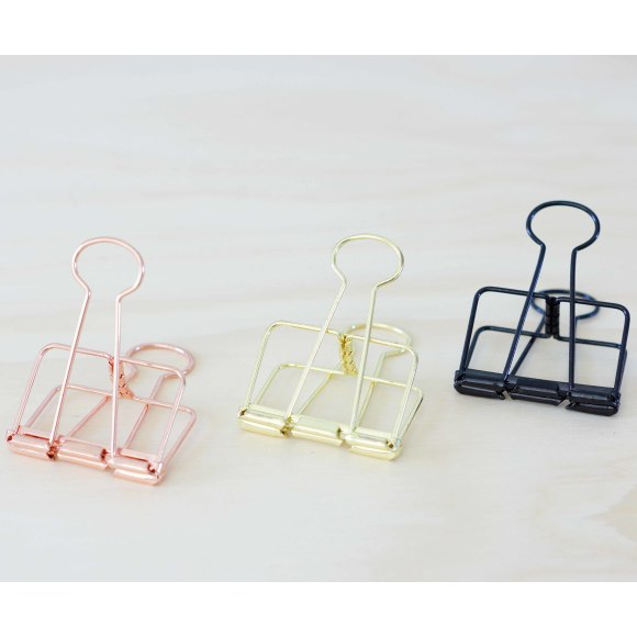 Bulldog Clips: L-R Copper, Gold, Black