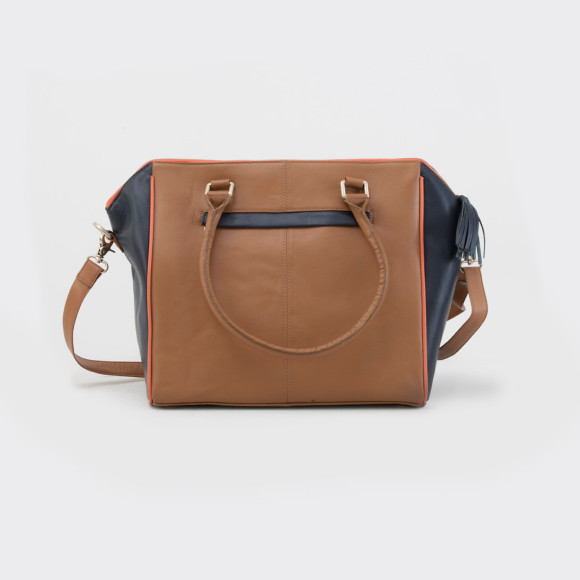 Annie baby bag in caramel with navy & blush contrast