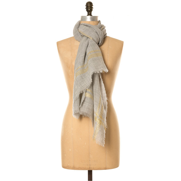 Metallic stripe wool scarf grey/gold