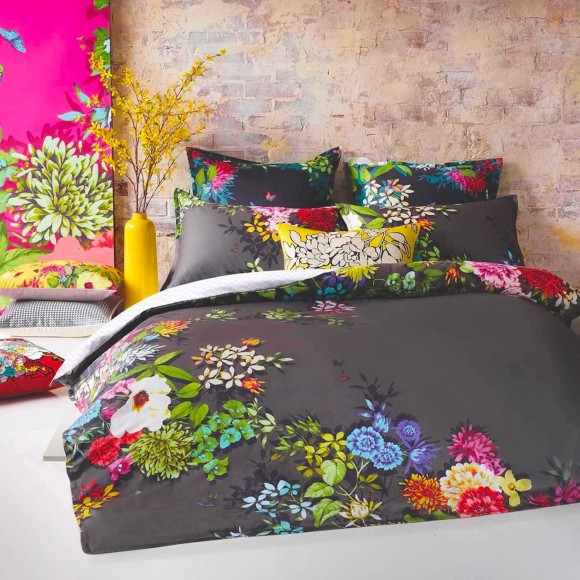 European Pillowcase pictured with Tropicana Charcoal 3-Piece Quilt Cover Set