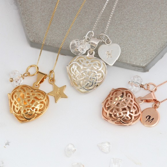 sterling silver rose gold or gold filigree celtic heart locket with April birthstones