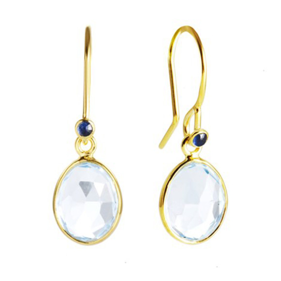 Blue Topaz and Sapphire 18ct Gold Vermeil Hook Earrings