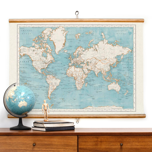 World map wall hanging hardtofind wall map bluebeard gumiabroncs Image collections