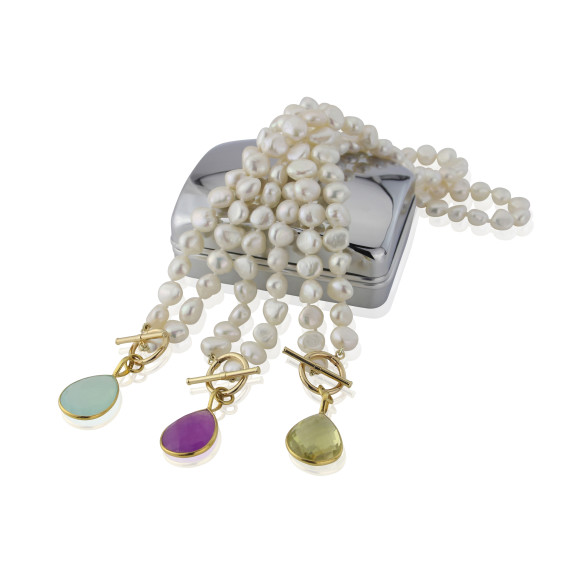 Mustique White Pearl Necklace with Lavender Chalcedony Drop featured alongside others in the Mustique Range