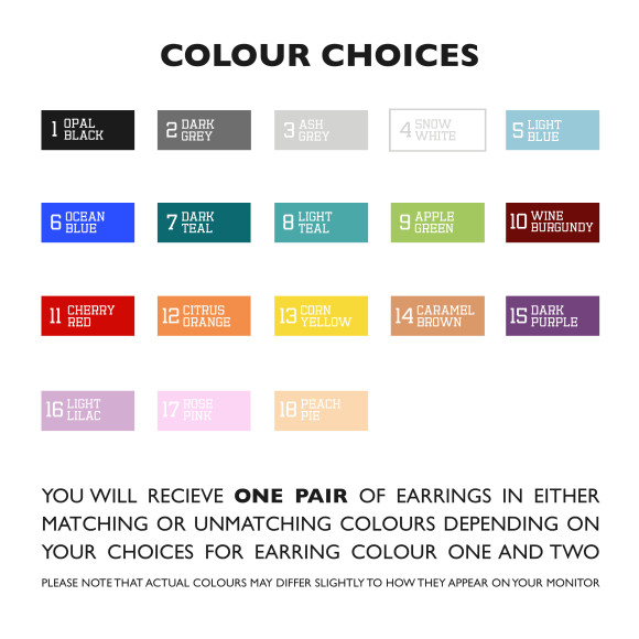 Earring Colour Chart