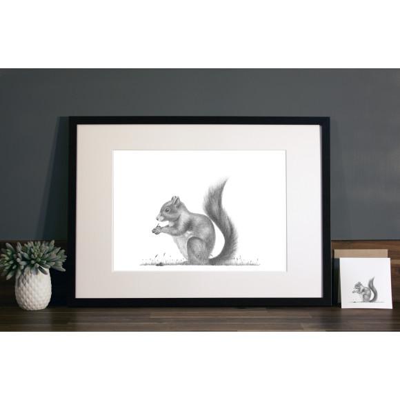 Squirrel print A3 mocha frame