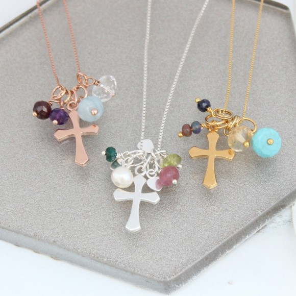 personalised cross in sterling silver, rose gold or gold with birthstones