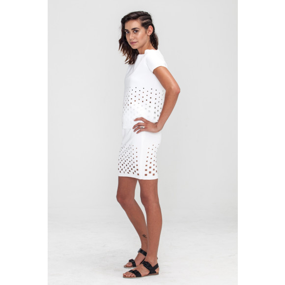 Geometric Laser Cut Pencil Skirt white