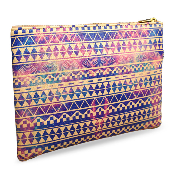 Aztec Print Substitution Vegan Leather Pouch Clutch Bag