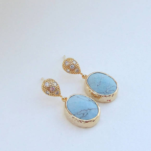 Oval Faceted Glass Gold Earrings Turquoise