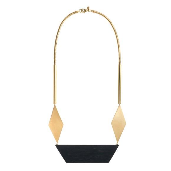 Origami ebony wood statement necklace