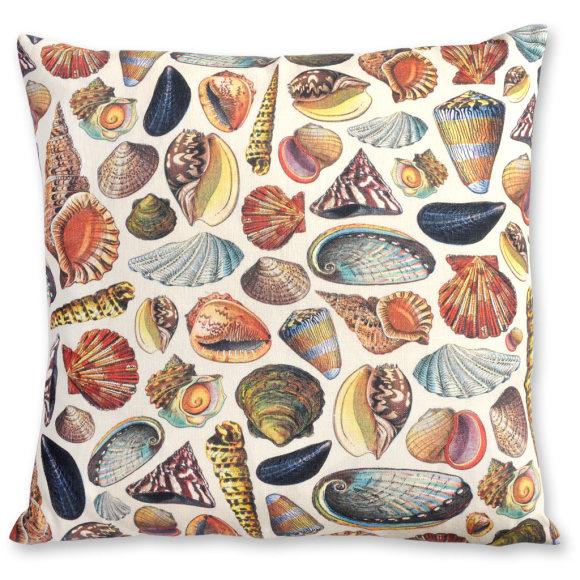Mollusques linen cushion cover