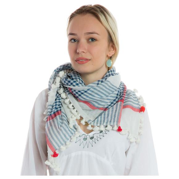silk pompom scarf