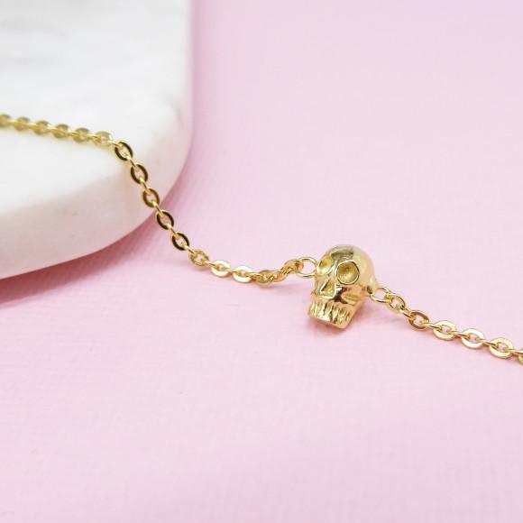 skull bracelet gold plated