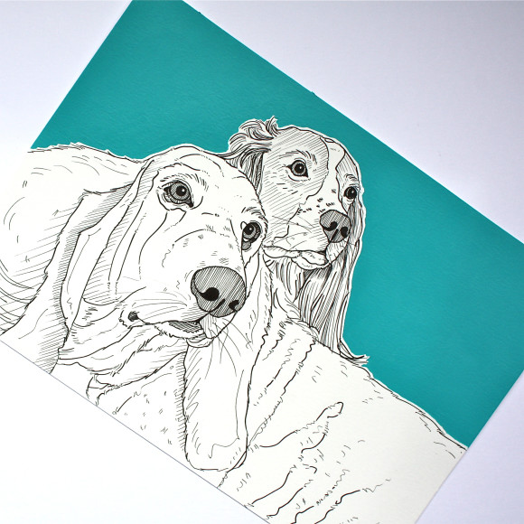 Portrait Pair ( Bright blue / Teal )