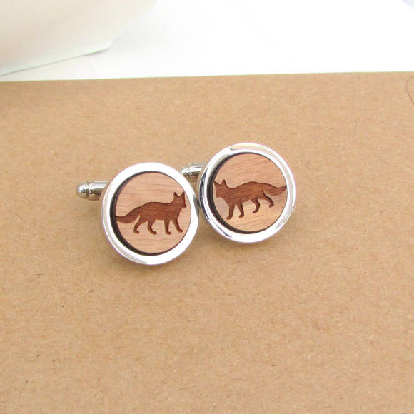 Personalised Wooden Fox Cufflinks
