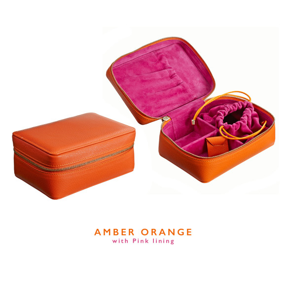 Orange Leather Jewellery Case