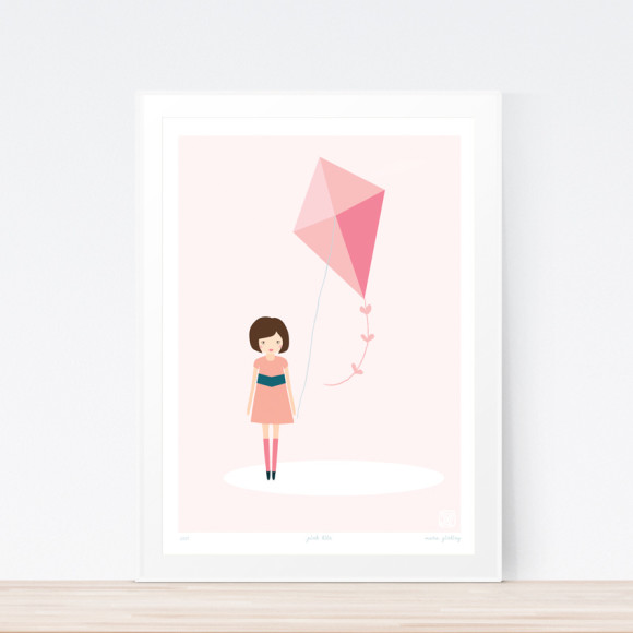 Pink Kite Art Print Framed