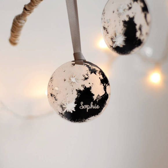 Personalised Mirror Moon Christmas Tree Decoration