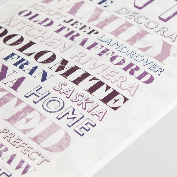 Vintage Parchment word art print detail