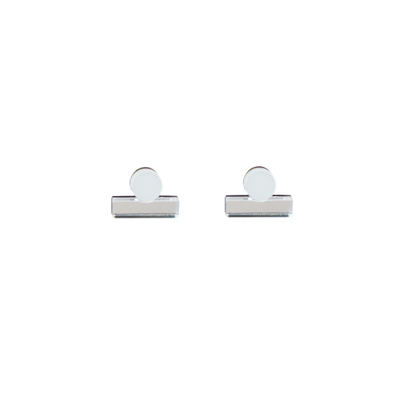 Dot Dash Studs - White / Silver