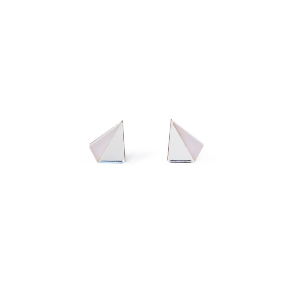 Little Pyramid Studs - Silver / Pastel Mauve