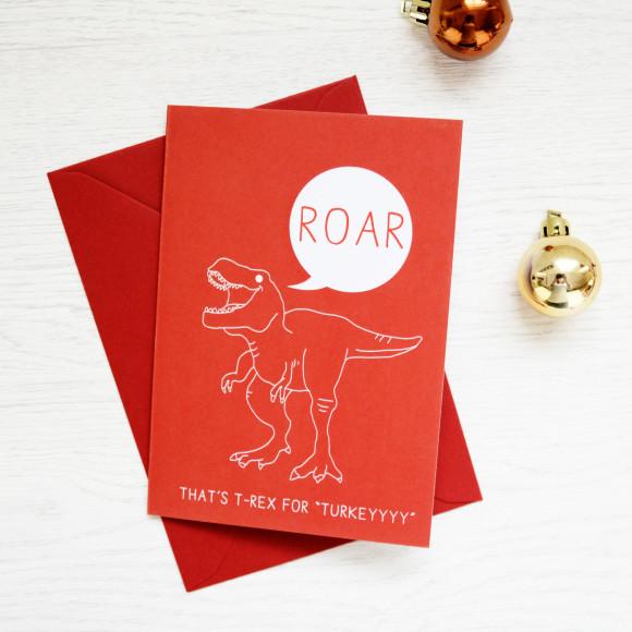 Christmas hungry T Rex dinosaur card packs