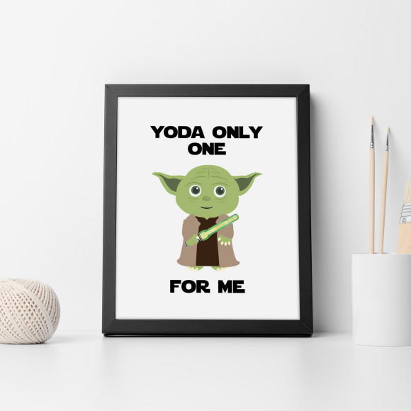 Star Wars - Yoda only one for me Print with optional Australian-made black timber frame