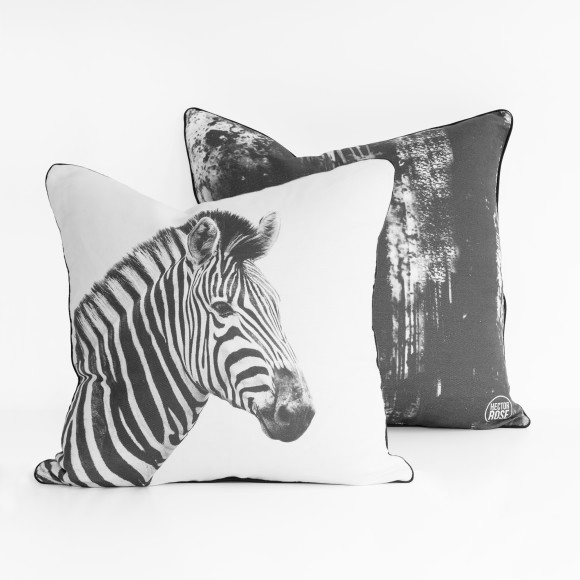 Hector Rose Zebra & Ink Smudge Cushion