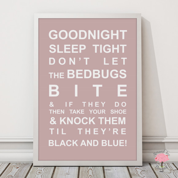 Goodnight Sleep Tight Print in Dusky Pink, with optional Australian-made white timber frame