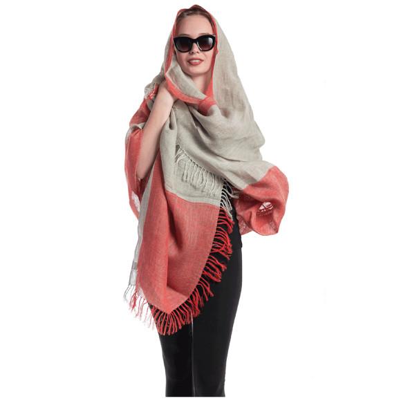 Linen shawl soft pink
