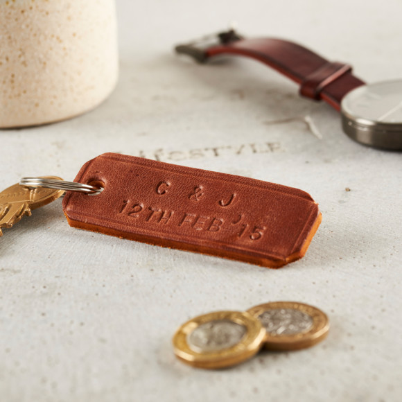 Personalised Handstamped Leather Keyring in tan
