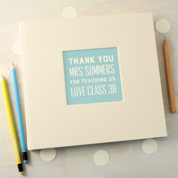 personalised typographic thank you teacher message book hardtofind
