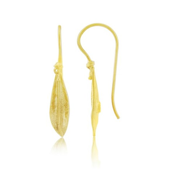 Paxos Gold Vermeil Olive Leaf Earrings