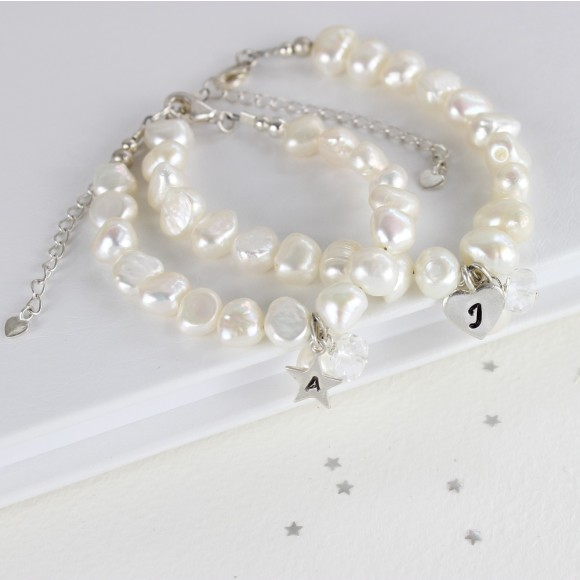 white baroque pearl bracelet with rock crystal for April