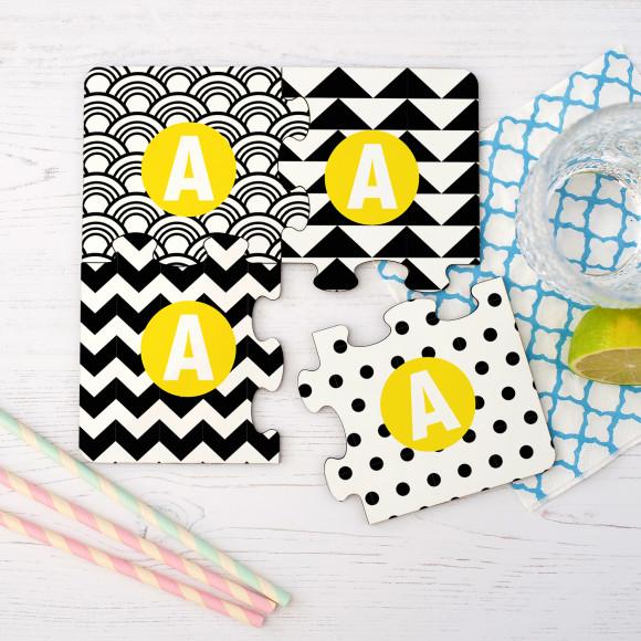 Monochrome Jigsaw Coasters Yellow